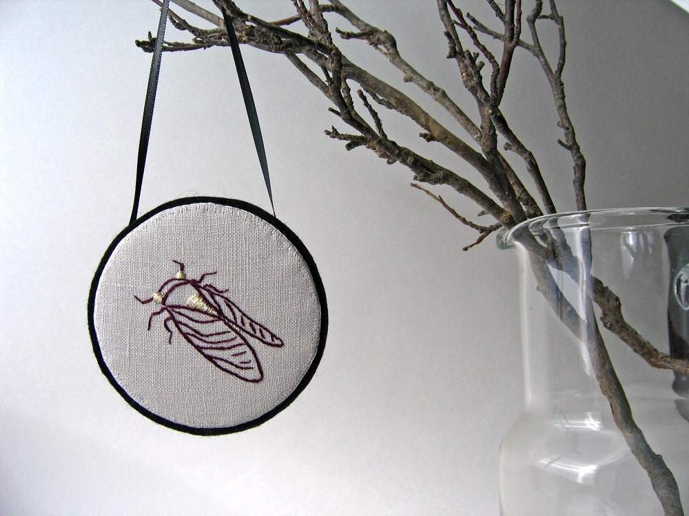 SALE Cicada wall hanging or pin, hand embroidered