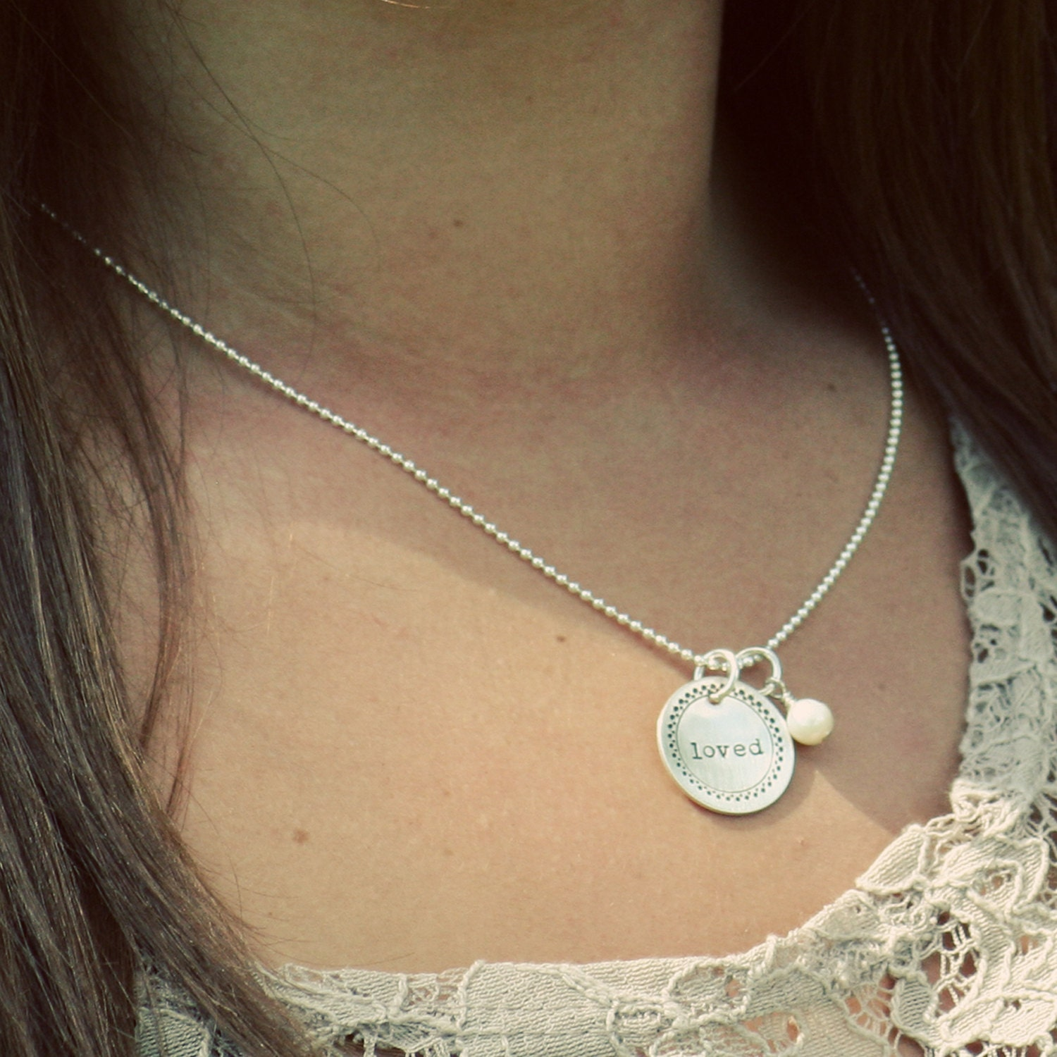 Sterling Handstamped Initial Letter Necklace Bridesmaids Wedding Framed Cupped Disc