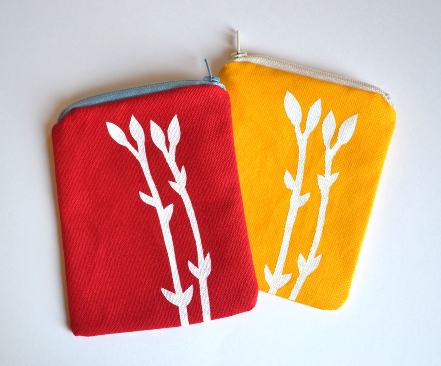 Digital Camera Case or Gadget Case Hand Printed Spring Bud in Red or Yellow - littlehenstudio