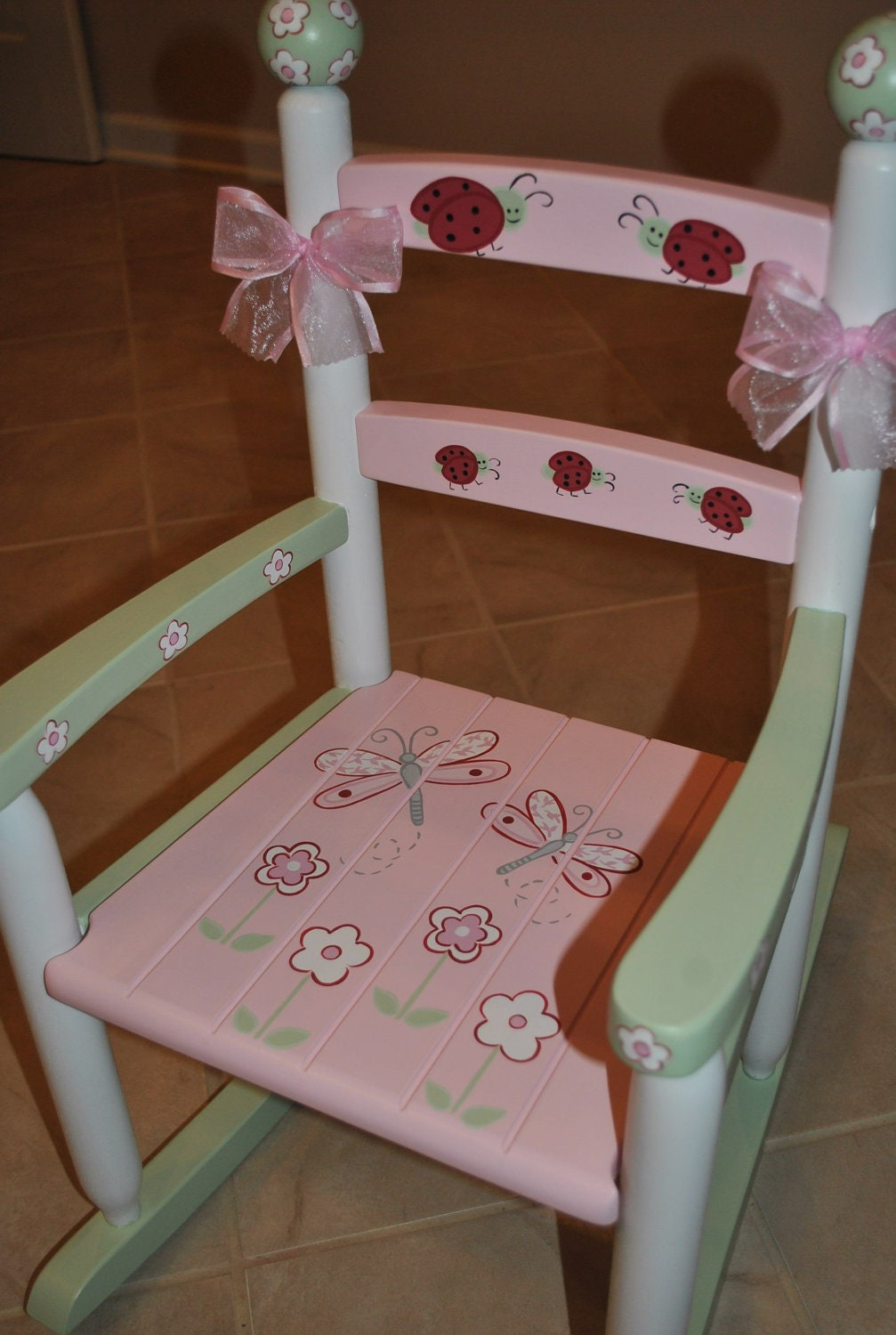 ... Lady Bug Dragonfly and Floral Pink and Green Girls Rocking Chair