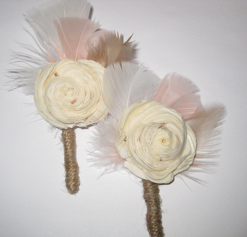 Balsa Wood Flower Boutonniere- Reserved LIsting for cookmama