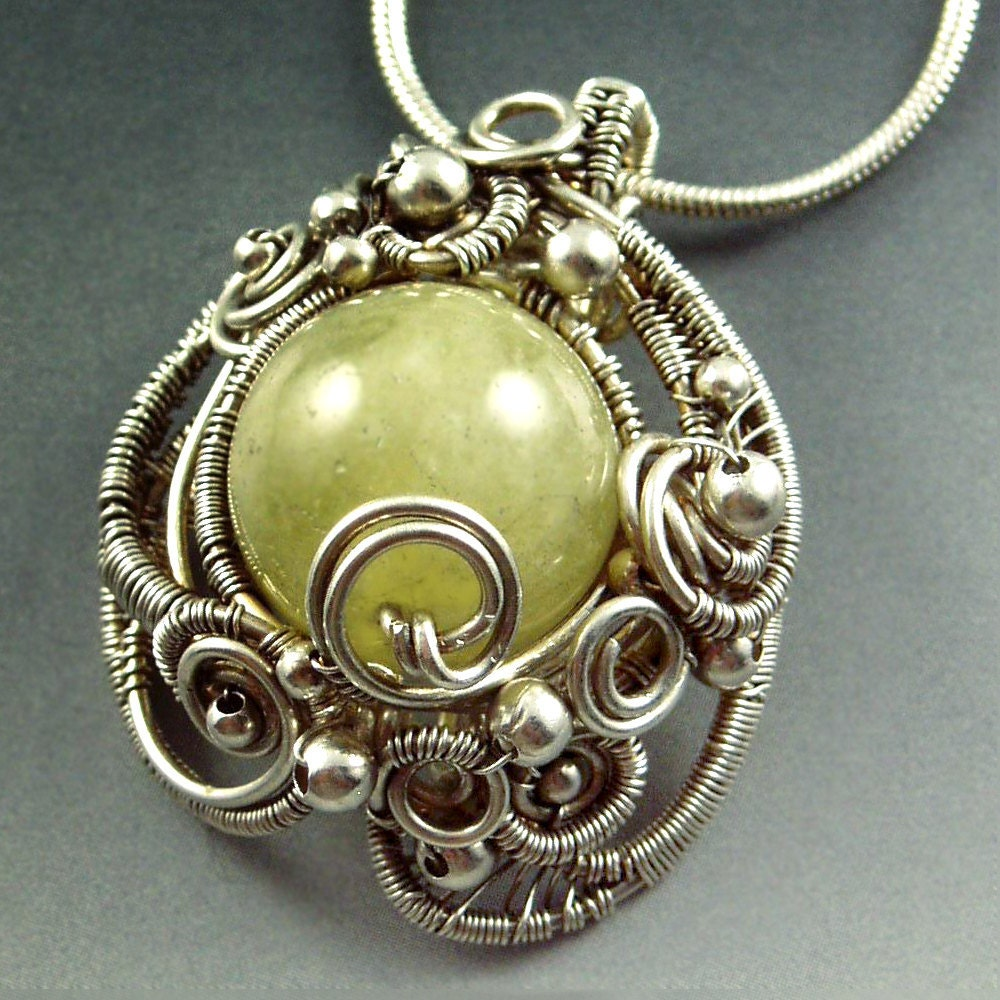 Mermaid Amulet  - Green Aquamarine Gemstone and Sterling Silver Sculpted Necklace