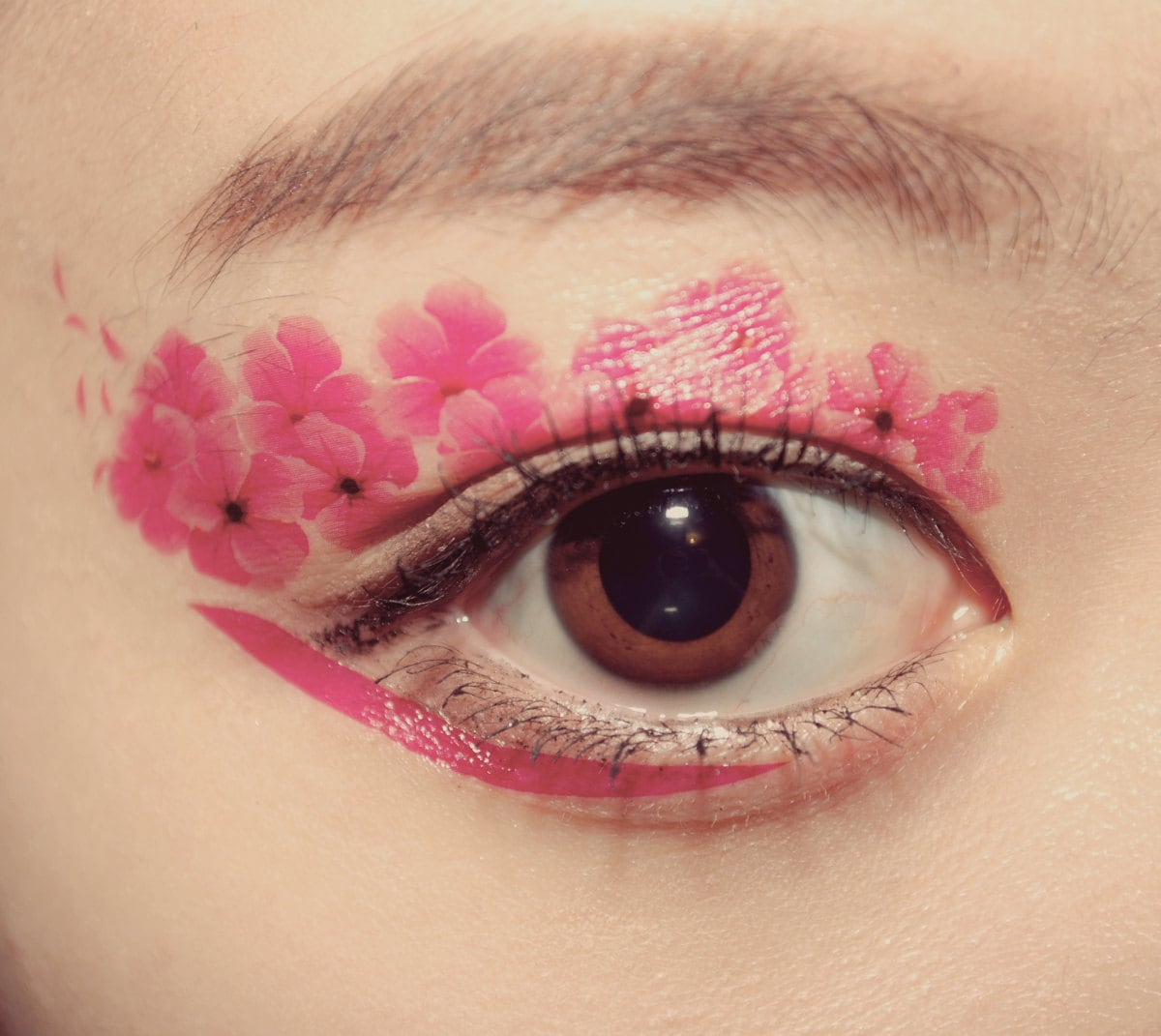 1 Pair Eye Temporary Tattoo Spring Makeup Eyeshadow Magnolia Pink Flower dancer Stage Masquerade Cocktail Valentine Gift Party Festival Club - cclstore