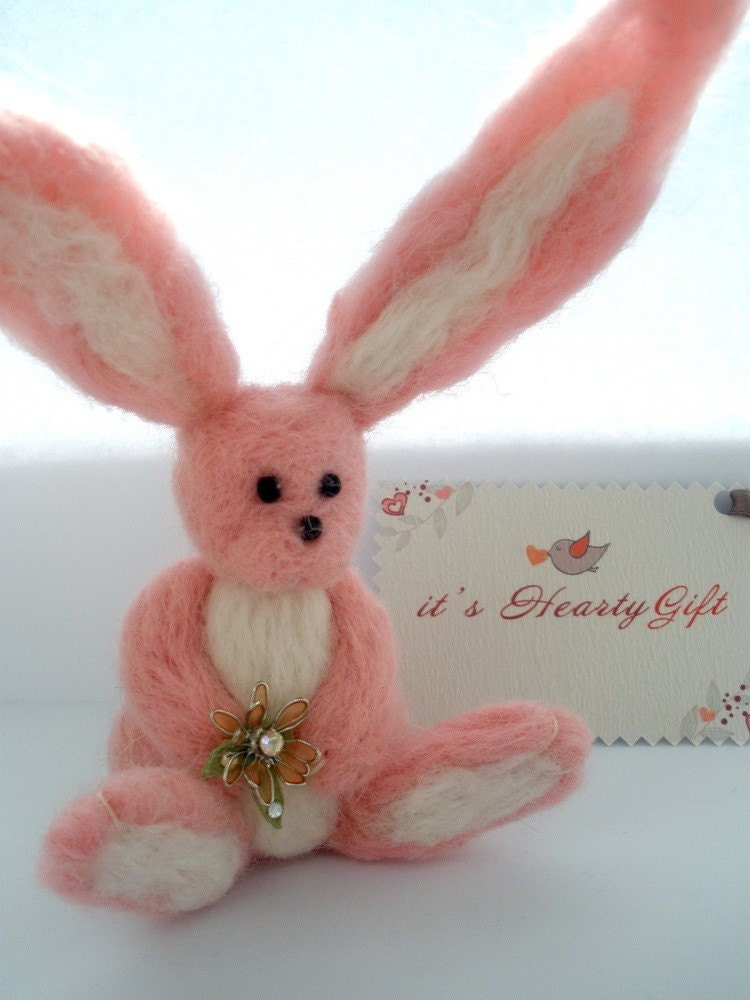 Adorable pink felt bunny for home decor or child's play