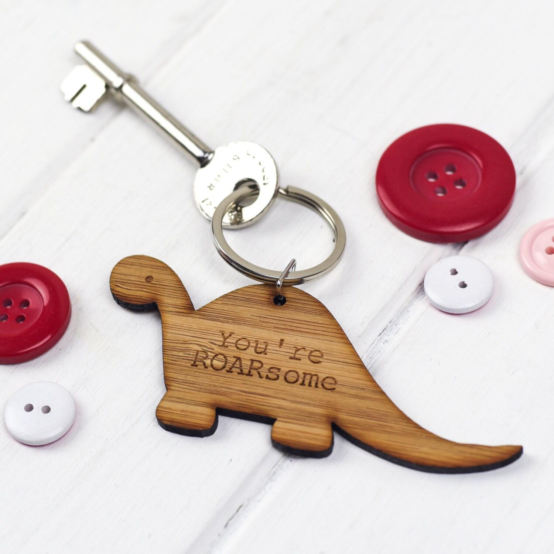 Dinosaur Key ring  Anniversary Key ring   Mothers Day Key ring  Fathers Day Key ring