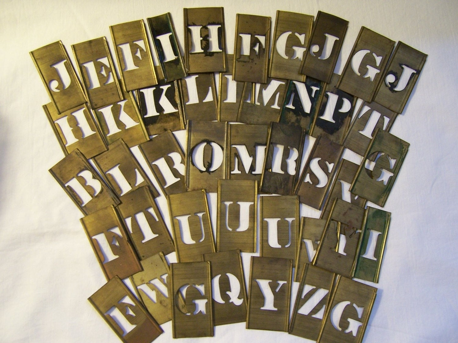 Vintage brass letter stencils 4 letters your by vintagenelly for Metal stencil set letters