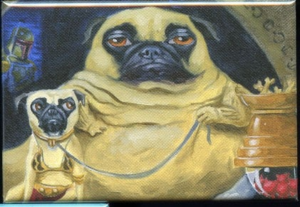 Pug jabba dog art magnet