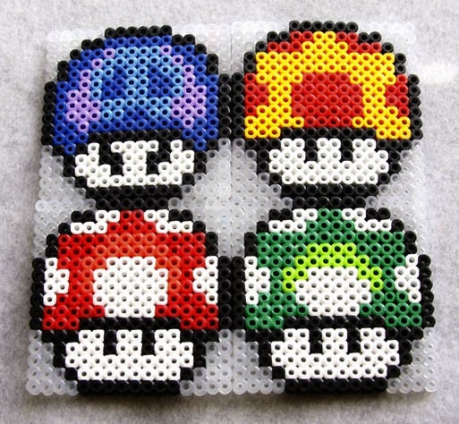 Items Similar To Perler Bead Mario Mushroom Coaster Set On