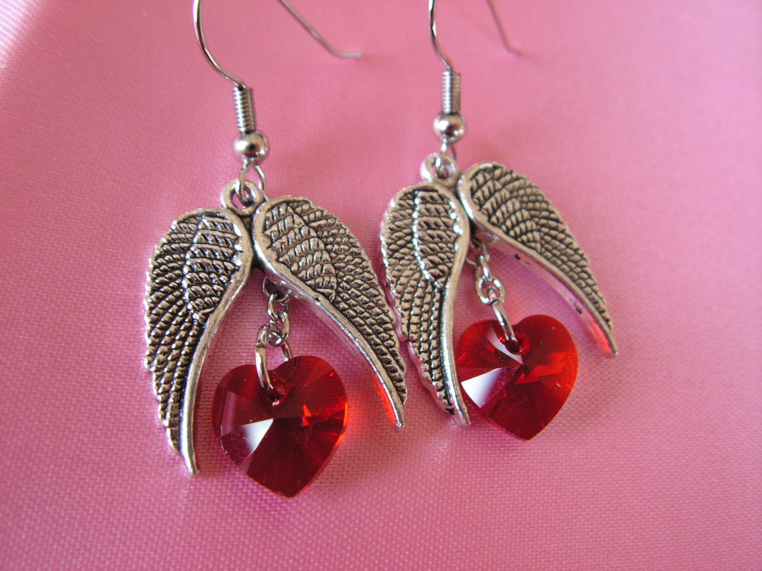 Wings of Love Red Swarovski Heart Dangle Earrings