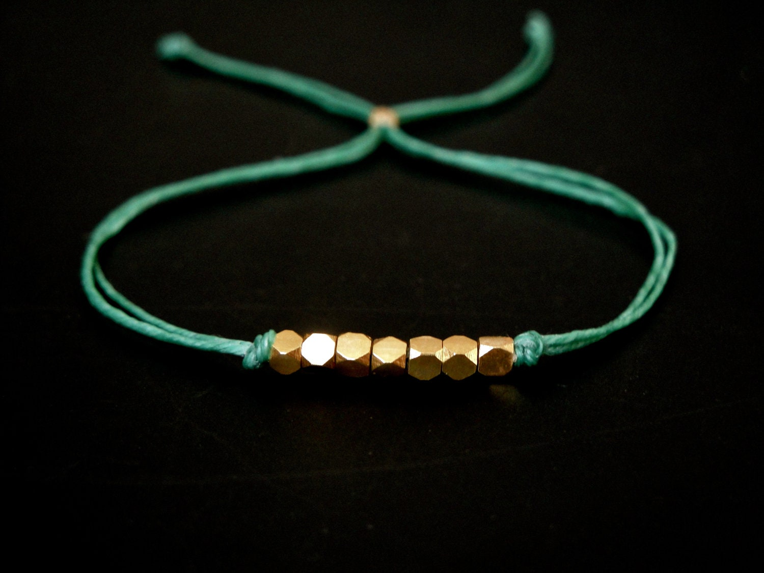 wish bracelet - ultramarine green with faceted gold vermeil beads - aimeepawluk