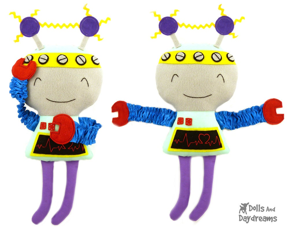 Robot Sewing Pattern PDF Softie Tutorial Tin Man Plushie - DollsAndDaydreams