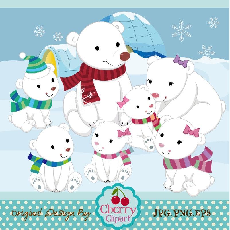 1229 christmas polar bear clipart  Public domain vectors