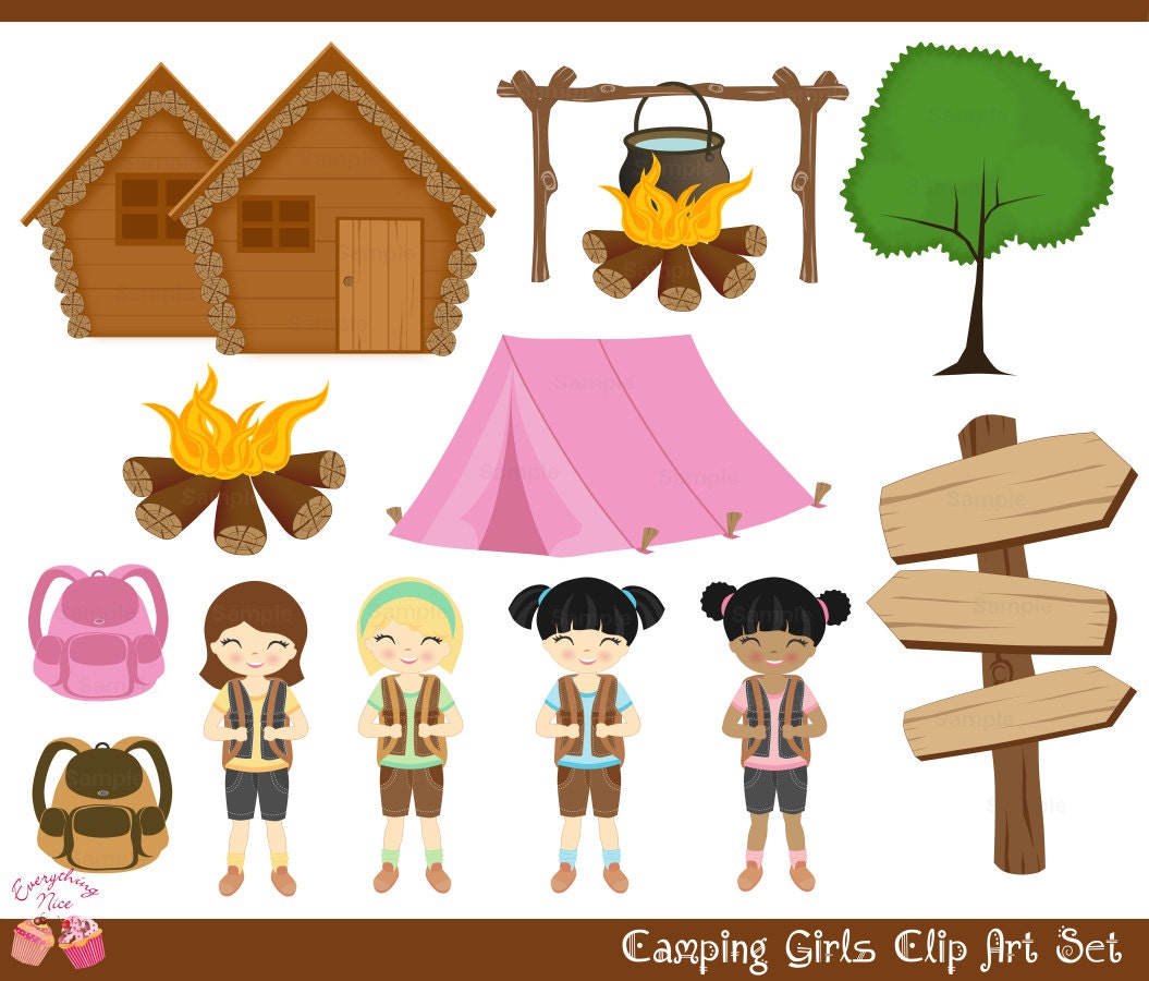Girl Scout Camping Clipart Girls Camping clipart