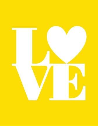 8x10 Inches Art Print. Retro Love (Sunshine Yellow and White)