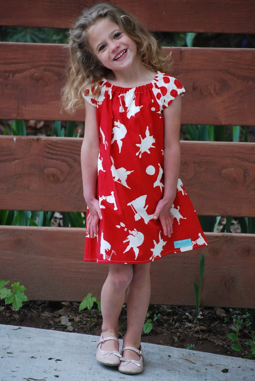 Red and White Pig Peasant Dress size 2 3 4