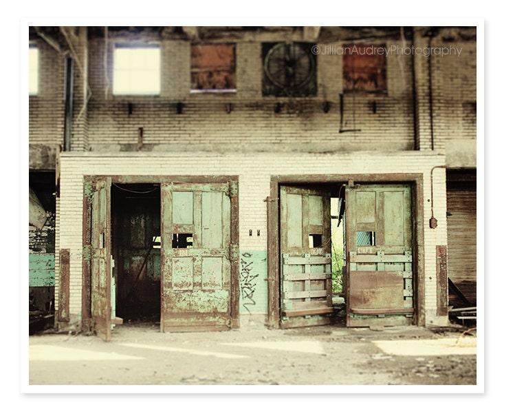 Mint Doors Photography, Buffalo New York Train Terminal, Urban Grit, Graffiti Photo, Abandoned Building, Architecture - JillianAudreyDesigns
