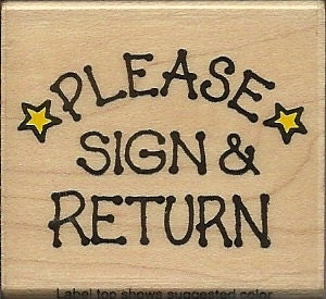 Please sign and return stars wood mounted rubber stamp hero arts