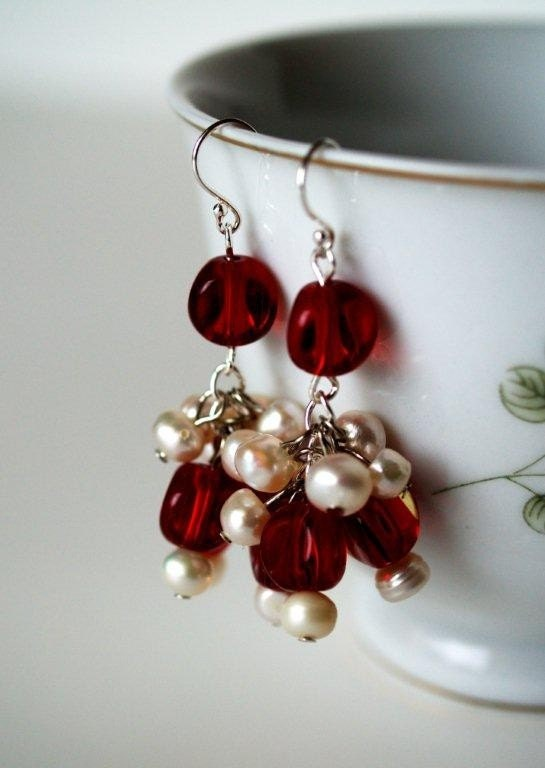 Red Glass Bead and Pearl Earrings