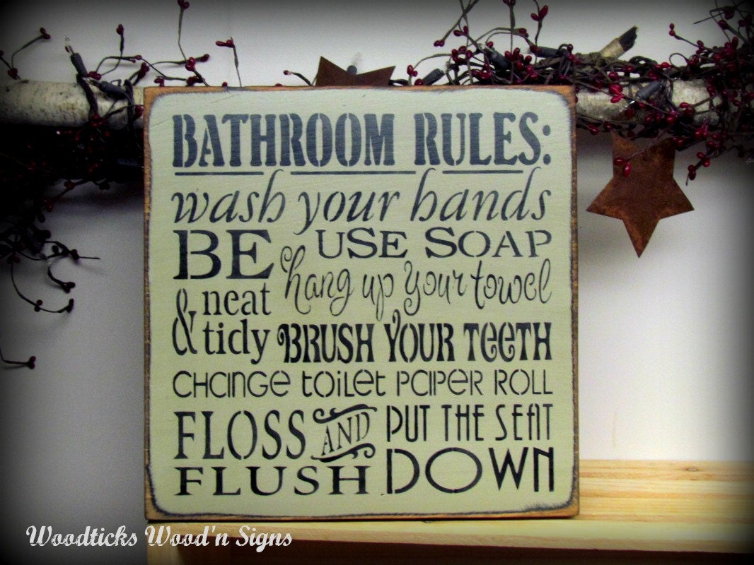 Wooden sign bathroom rules 12 x 12 sign wash your by for Bathroom quote signs