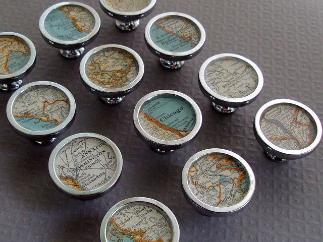 Map Drawer Pulls or Handles Cabinet Knobs Custom 1935 Colliers Atlas Vintage