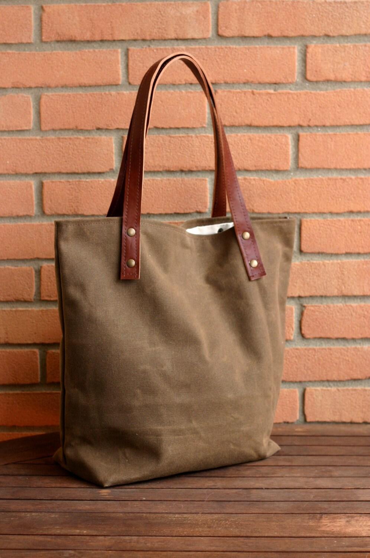 Waxed Canvas Bag Tote Bag Handmade Waxed By