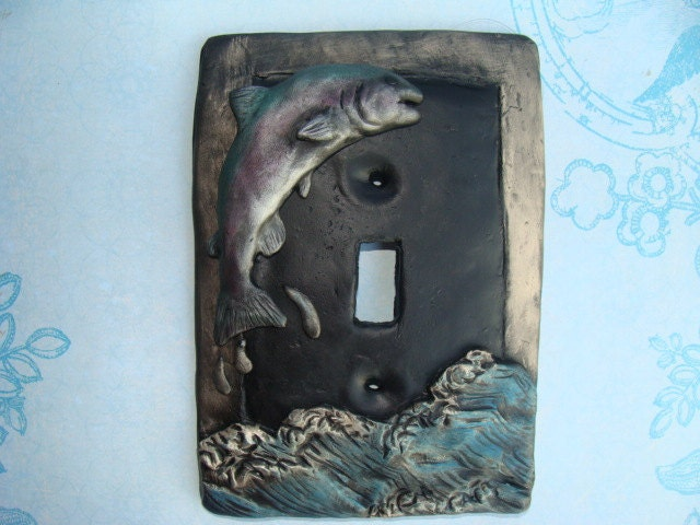 Items similar to man cave fish fishing light switch cover for Fishing man cave