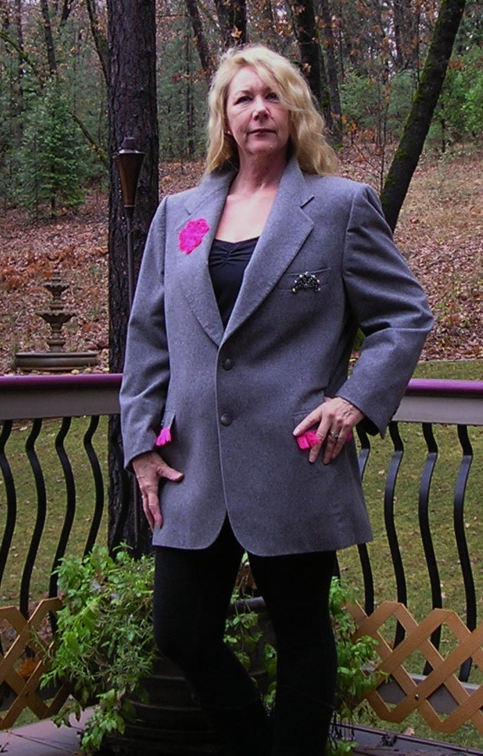Recycled, Upcycled Mens Suit Jacket for Women, Grey with Pink Trim