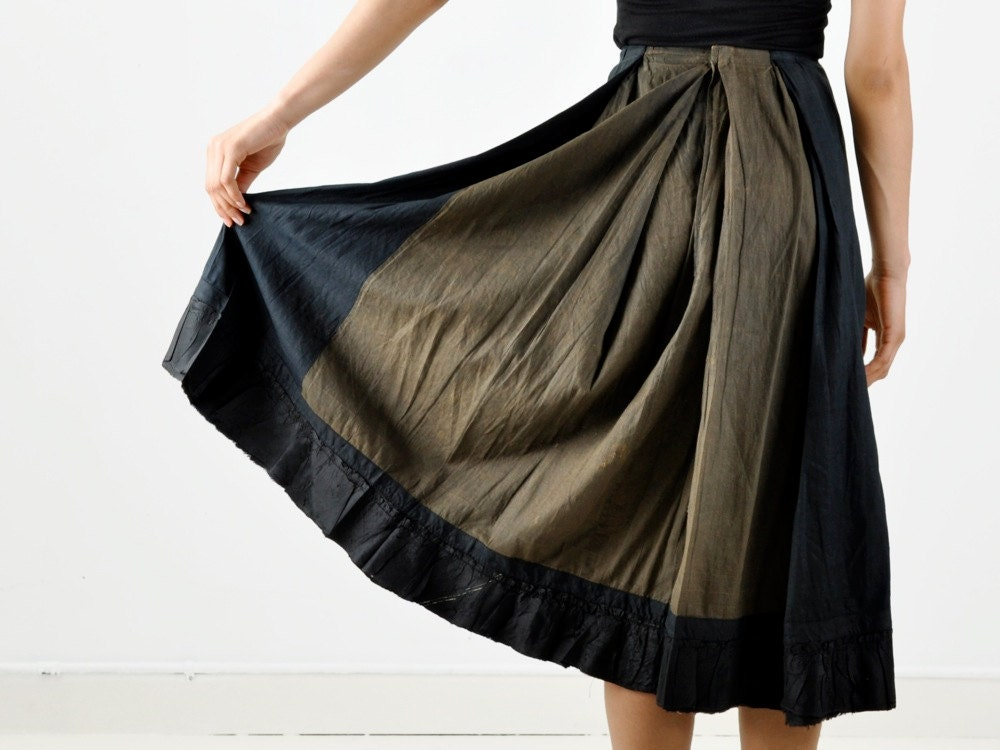 Vintage Distressed Olive Green Skirt with Black Silk Panels - MaevenOnEtsy