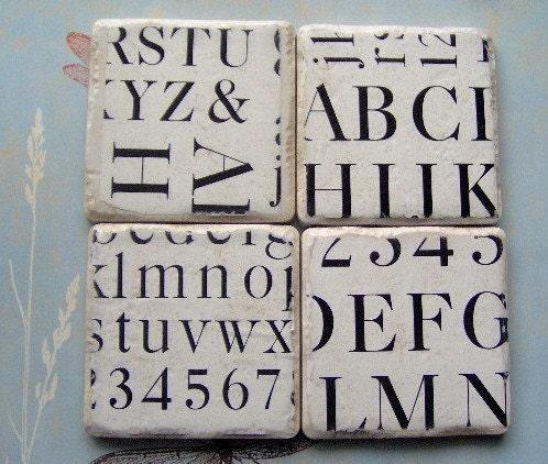 Etsy :: CarolinaCottage :: Fabulous Font Coasters from etsy.com