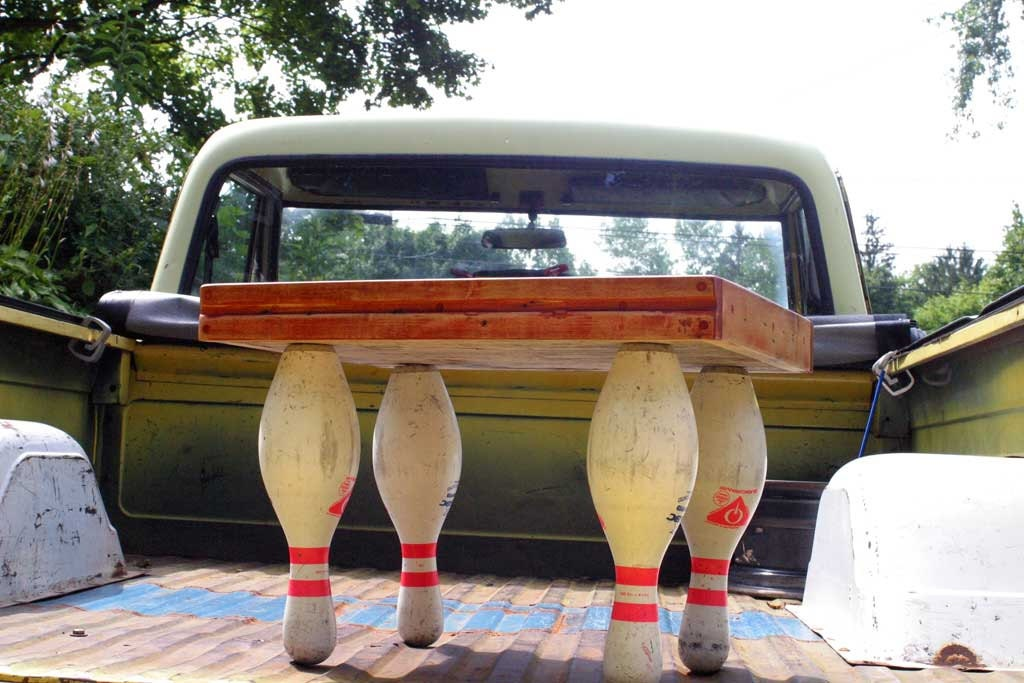 "reclaimed bowling alley and pins side table ""the dude"""