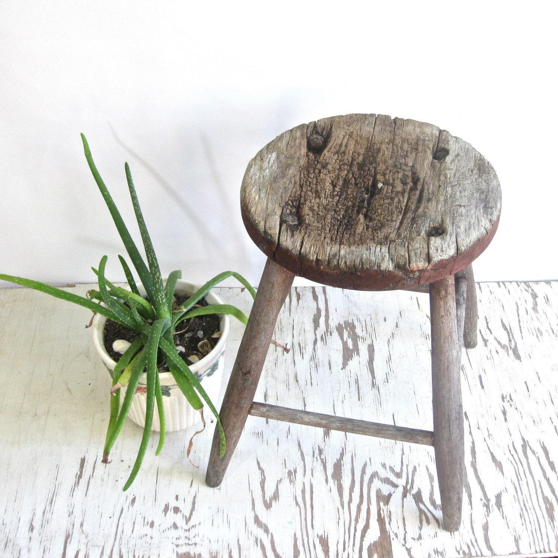 SALE antique wooden farmhouse stool