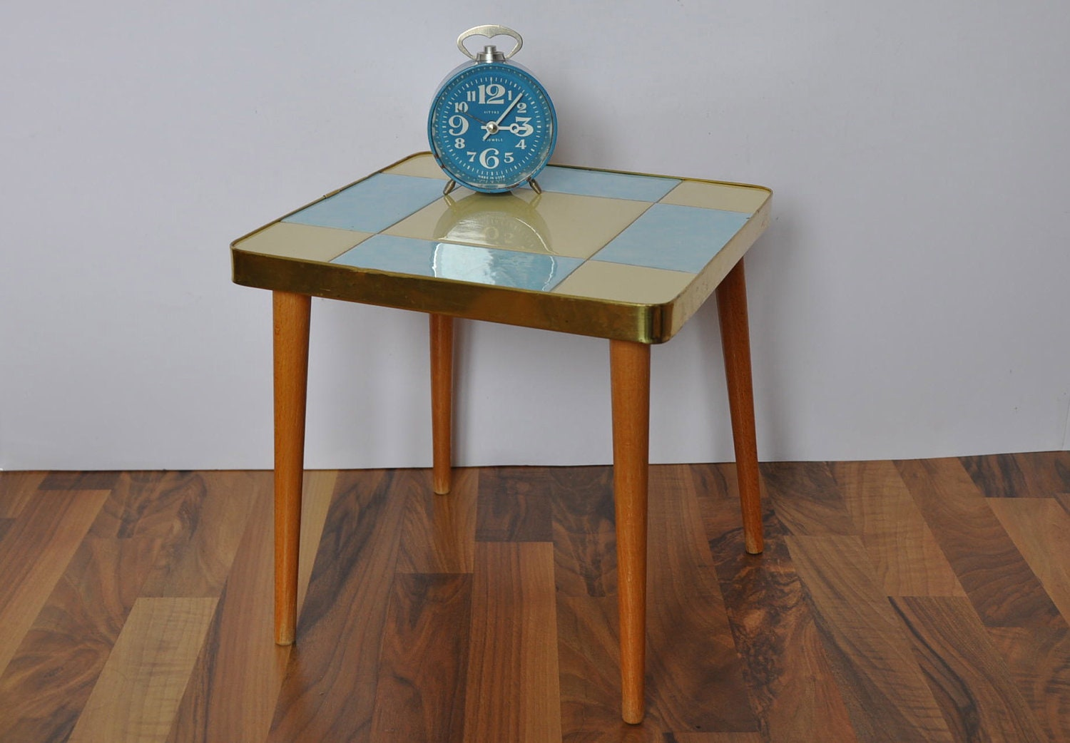 Mid Century Coffee Table Blue and cream by BerlinerStrasse