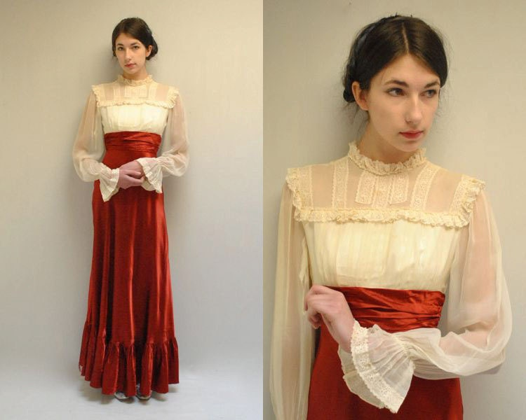 Edwardian style dress 70s prom dress by vintageurbanrenewal for 70s style wedding dress