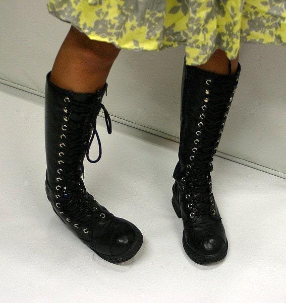 vintage black lace up biker boots by huntandfound