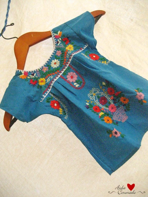 Beautiful handmade Mexican embroidered tunic dress child size  2
