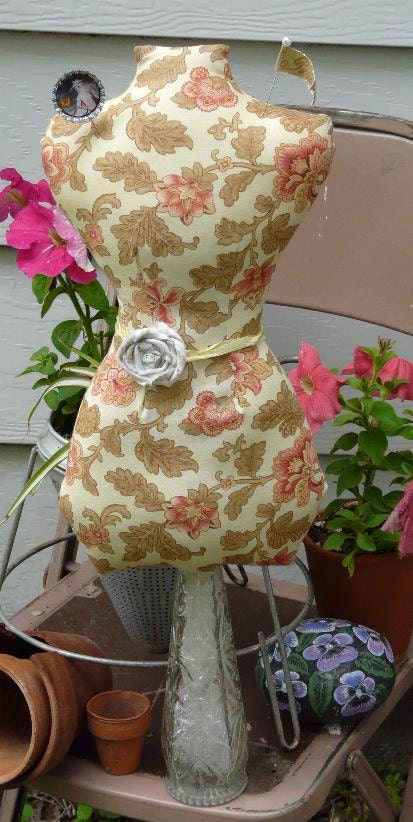 floral paris Large Mannequin Dress Form pinkeep - french fabric jewelry holder Pincushion Pin Keep primitive cushion