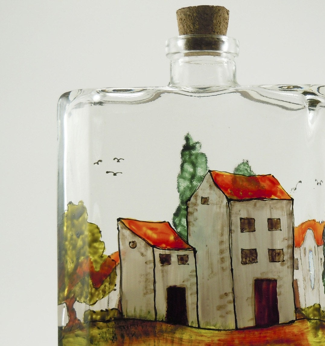 Village Provencal - Hand painted glass bottle for oil, vinegar, soap