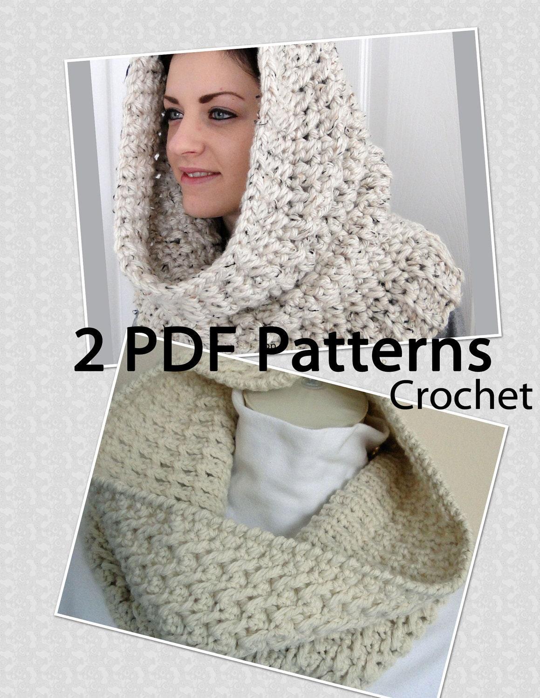 Free Crochet Pattern Hooded Neck Warmer : 2 PDF PATTERNS Crochet Neck Warmers Hooded by ...