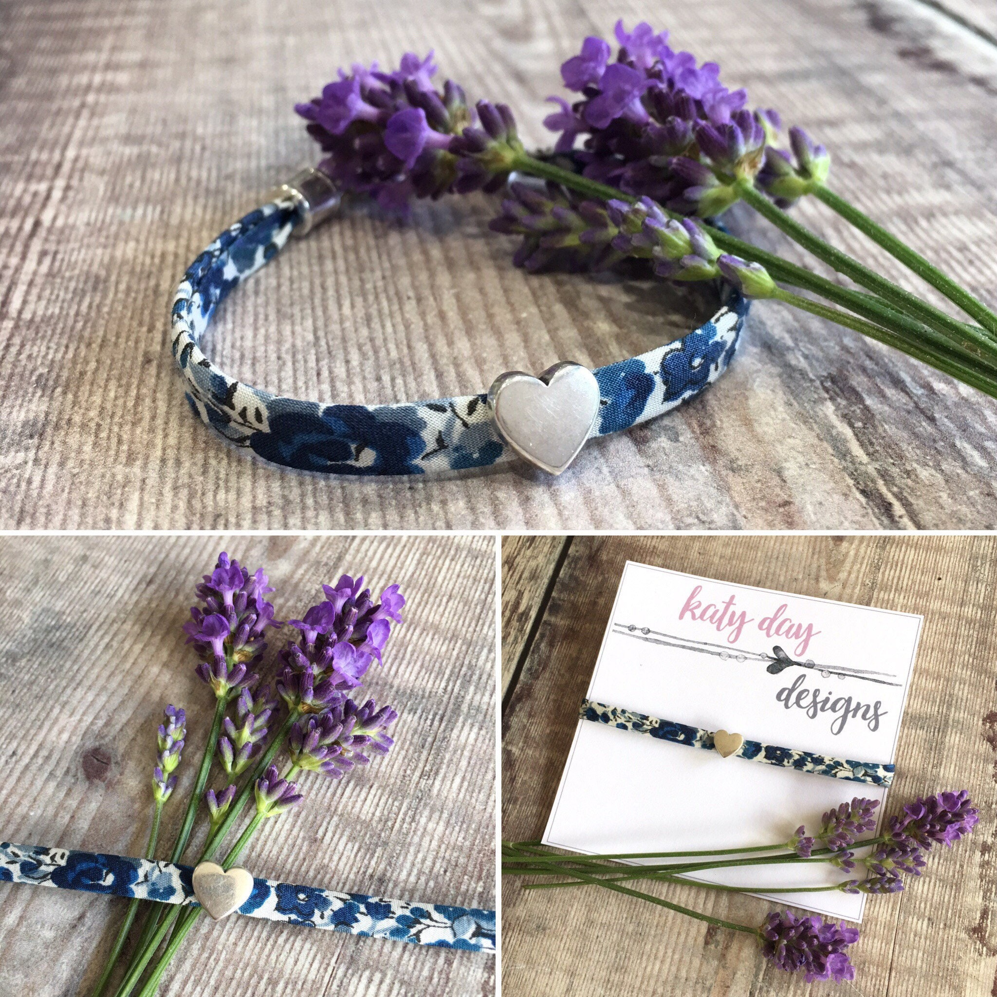Liberty Print Blue Floral Fabric Bracelet with Silver Heart