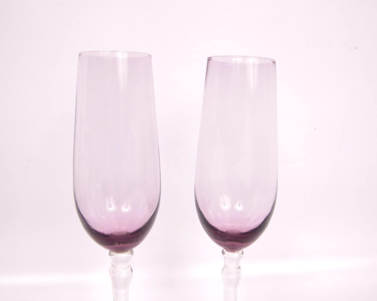 Vintage purple champagne flutes hand blown by levintagegalleria - Hand blown champagne flutes ...
