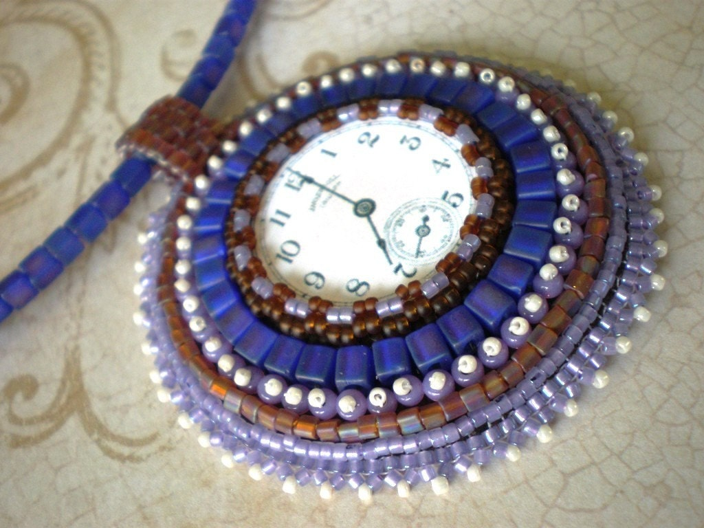 Time for Purple Rain Clock Face Pendant