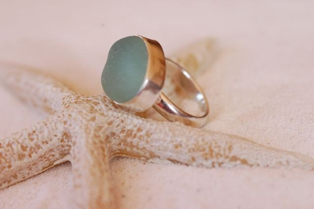 Moon Glow -  Sea Foam Sea Glass Bezel Set in Sterling Silver Ring - Liliana Designs