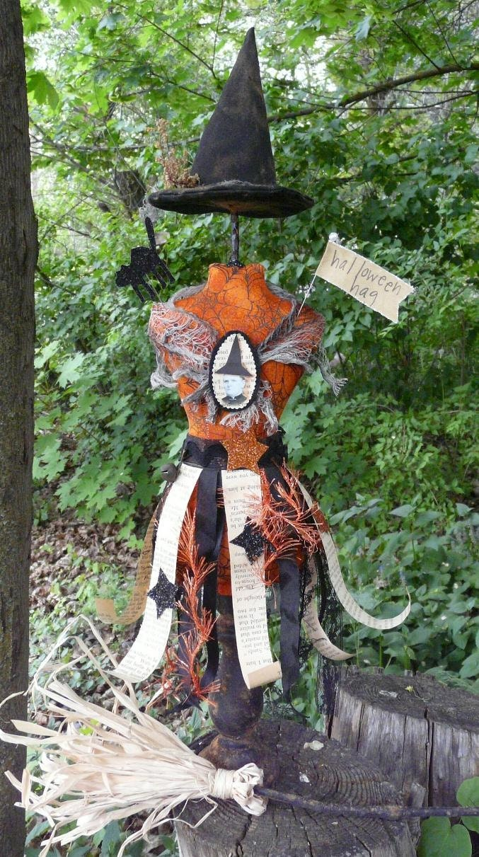 Halloween Witch Mannequin Dress Form doll Pincushion orange Pin Keep primitive pinkeep cushion