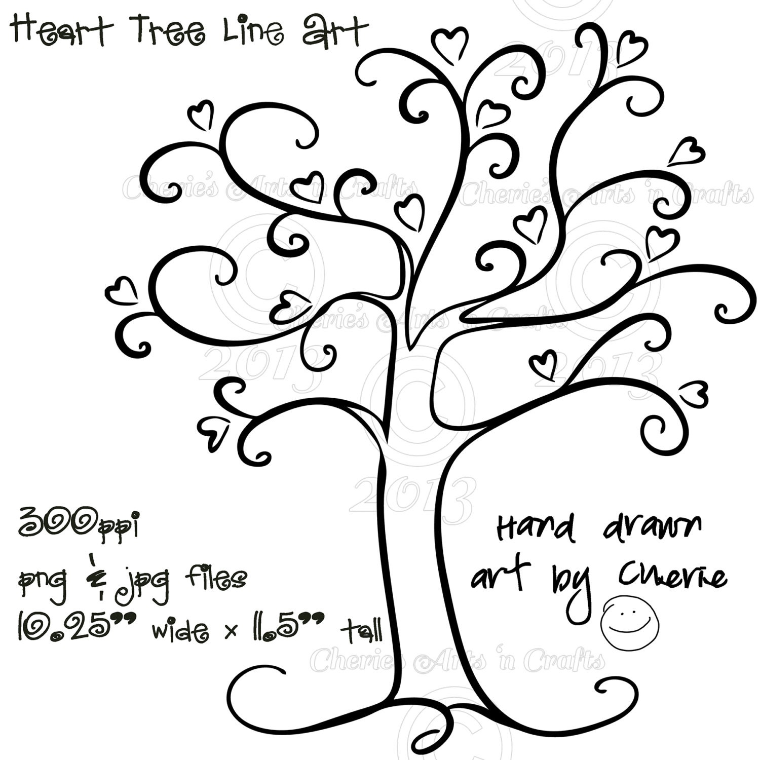 Heart Tree Png And Jpg Graphics Digital By Cheriesartsncrafts Whimsical Tree Coloring Page
