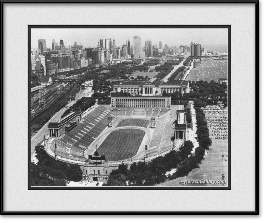 Items Similar To Vintage Soldier Field Art Chicago Bears