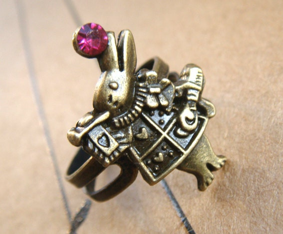 Alice in Wonderland Brass vestment trump rabbit red gem finger ring