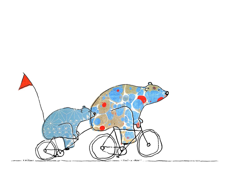 Trail-a-Bear - 8 x 10 Bears On Bikes Art Print - weandthebean
