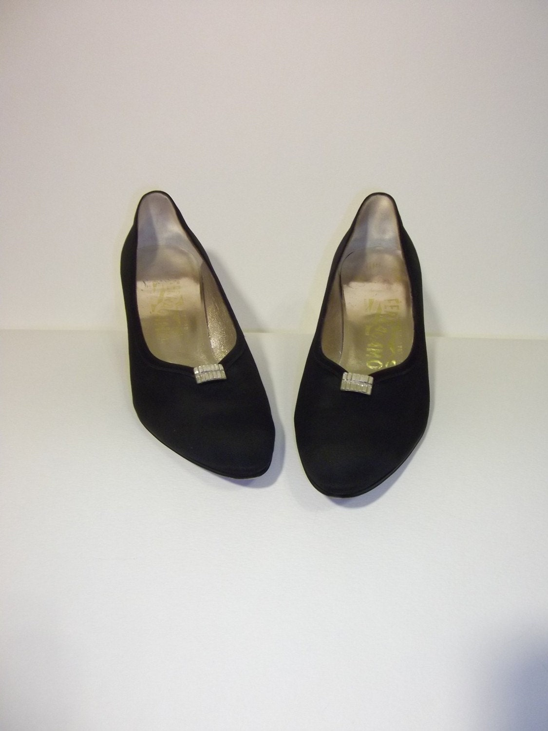 Black Rhinestone Ferragamo Pumps- 7.5 or 8