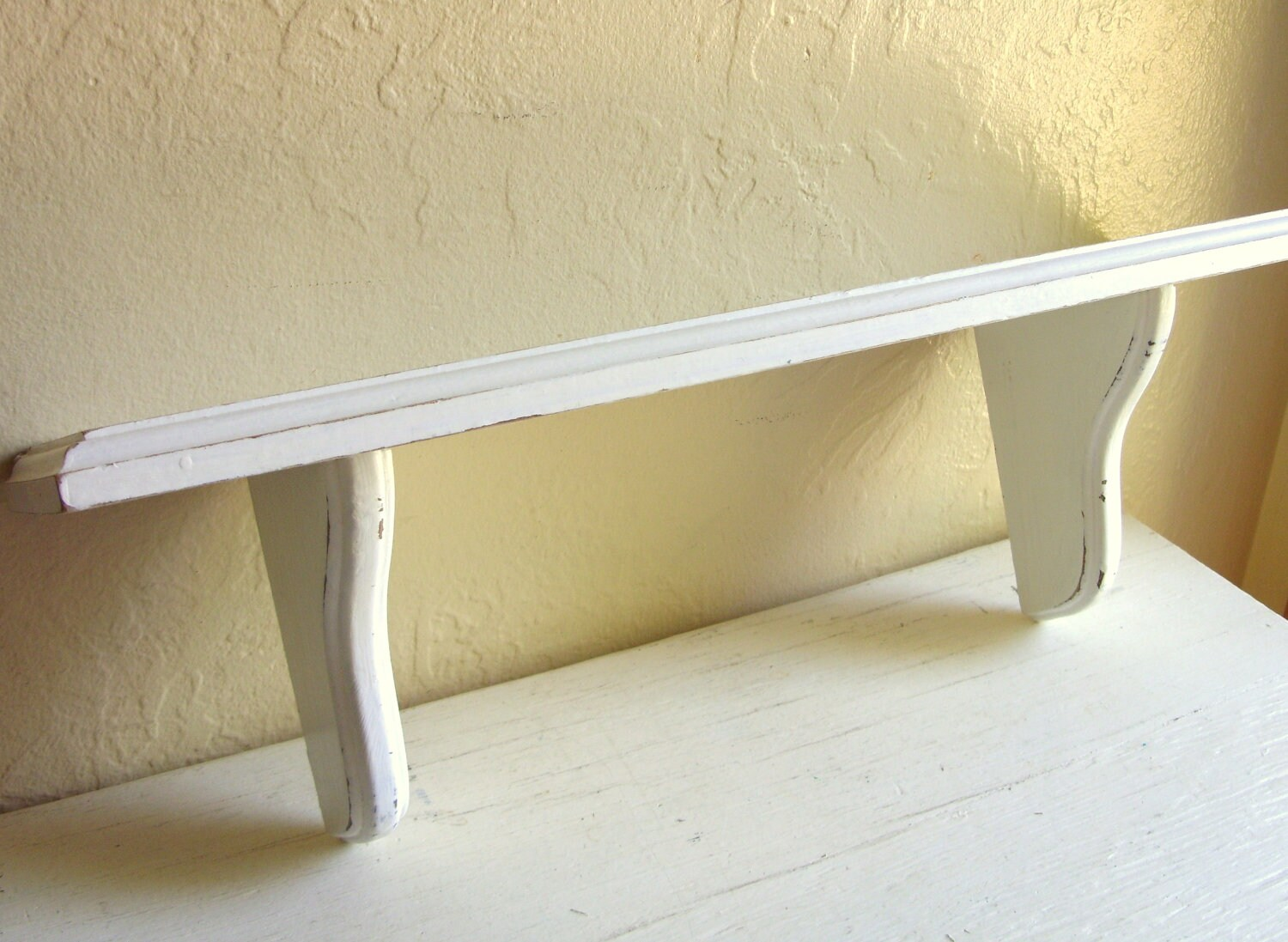 shabby chic distressed white wood wall shelf by shabbynchic. Black Bedroom Furniture Sets. Home Design Ideas