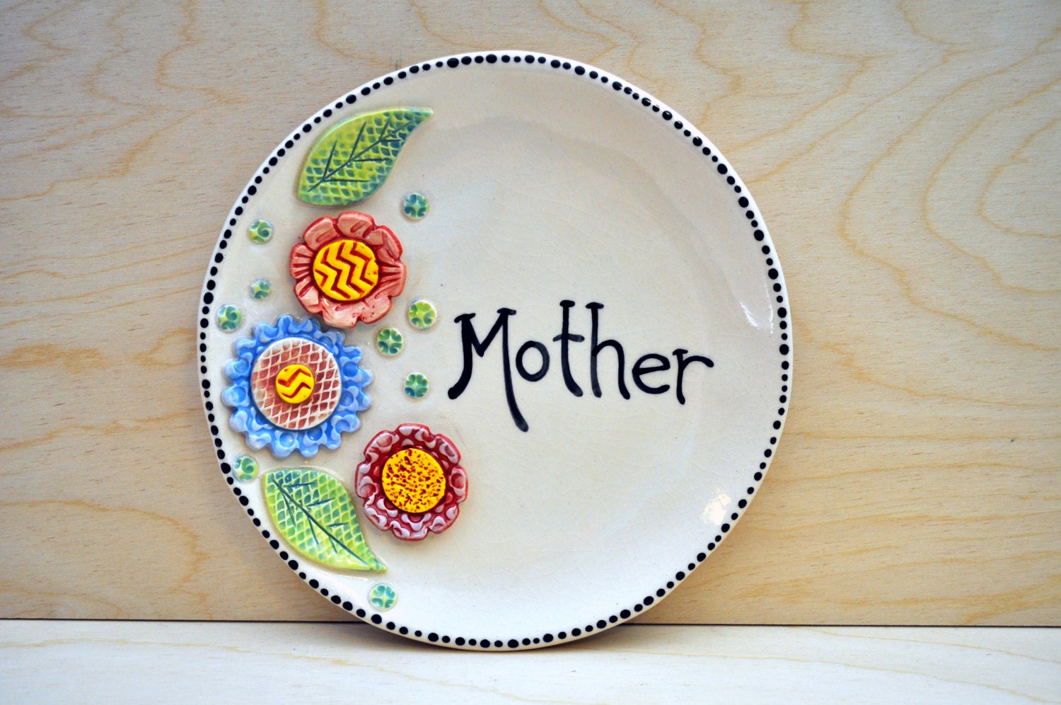 Mother's Day Plate- Decorative Pottery Plate for your Mom- Colorful Flower Plate
